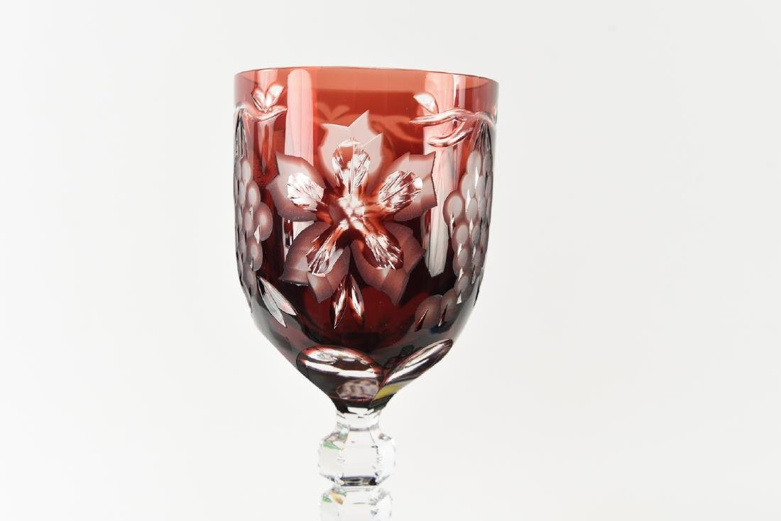 COLORFUL HUNGARIAN HAND CUT CRYSTAL GOBLETS - 8