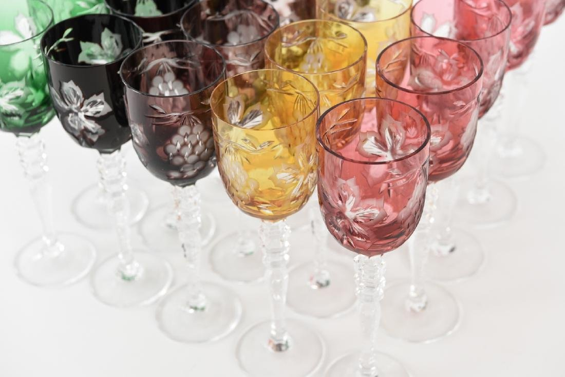 HUNGARIAN HAND CUT CRYSTAL CORDIAL GOBLETS - 4