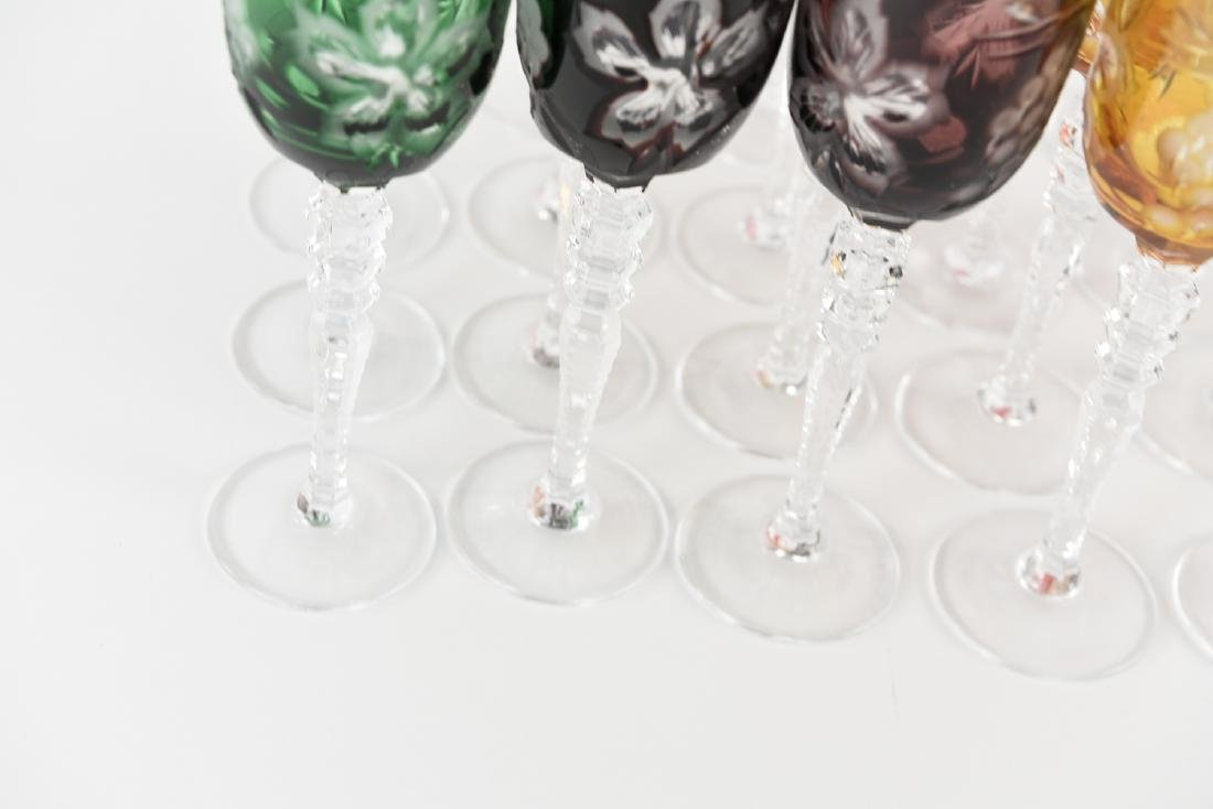 HUNGARIAN HAND CUT CRYSTAL CORDIAL GOBLETS - 6
