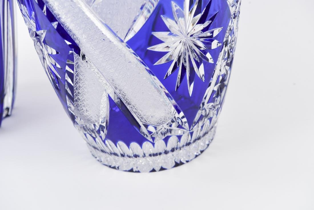 (2) LARGE BLUE & CLEAR CUT CRYSTAL VASES - 5