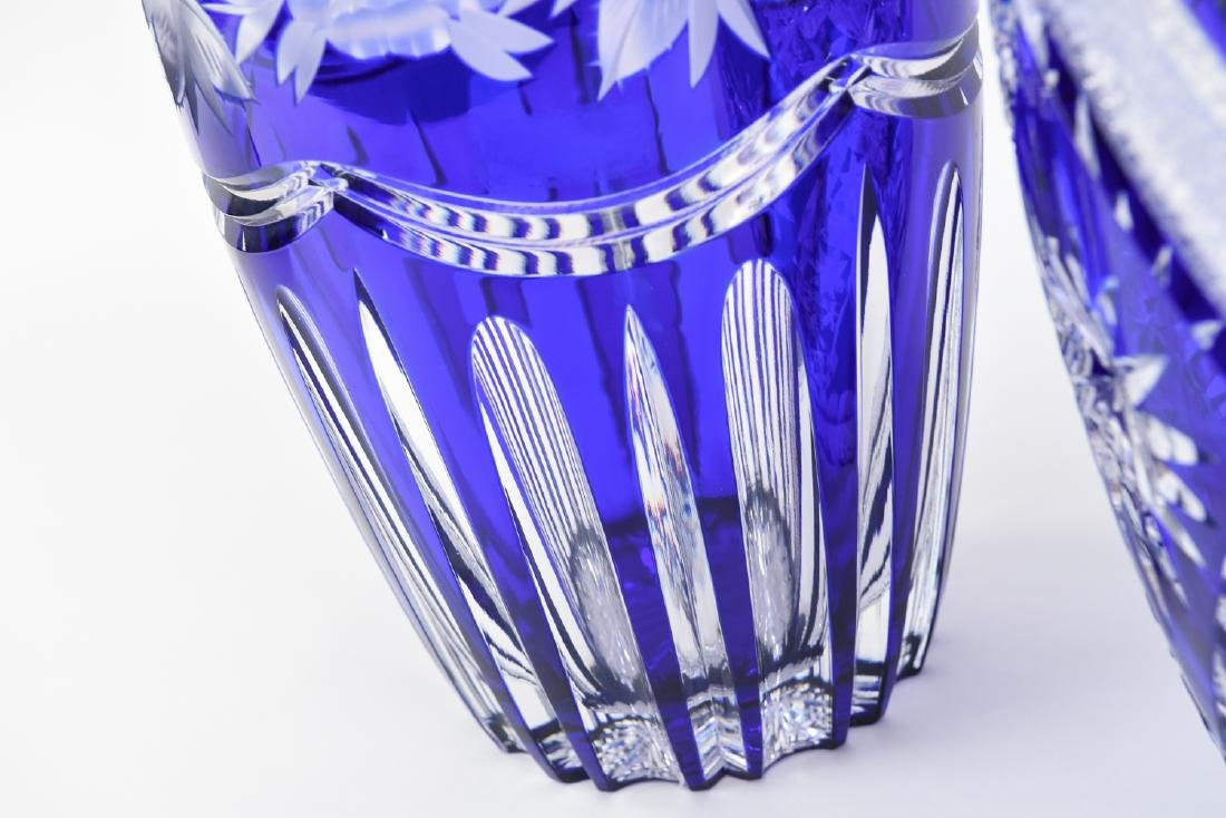 (2) LARGE BLUE & CLEAR CUT CRYSTAL VASES - 6