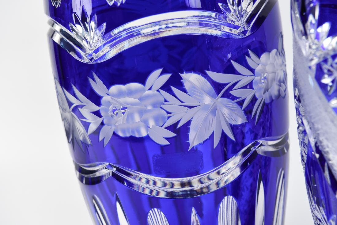 (2) LARGE BLUE & CLEAR CUT CRYSTAL VASES - 7