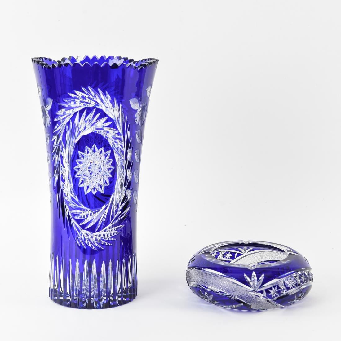 BLUE & CLEAR CUT CRYSTAL VASE & BOWL