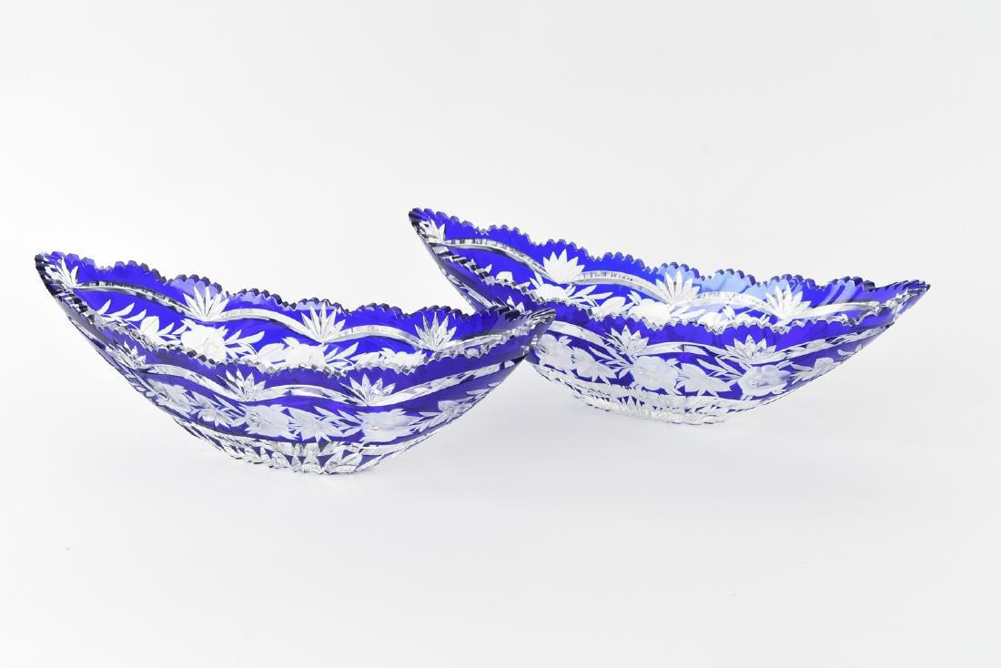 (2) BLUE & CLEAR CUT CRYSTAL BOAT DISHES
