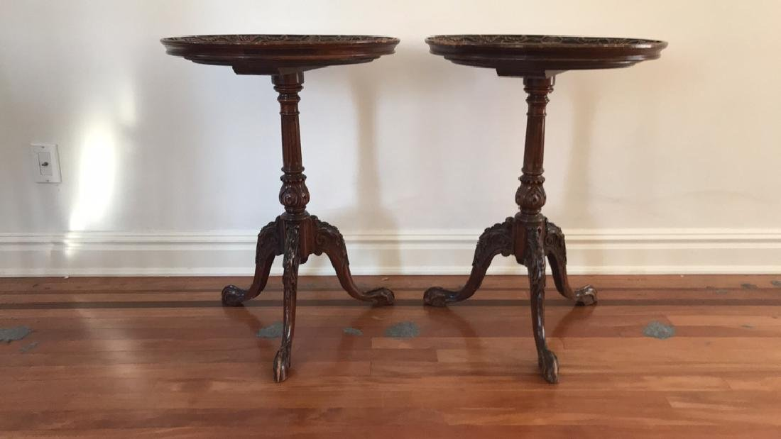 PAIR OF MAHOGANY CLAW FOOT SIDE TABLES