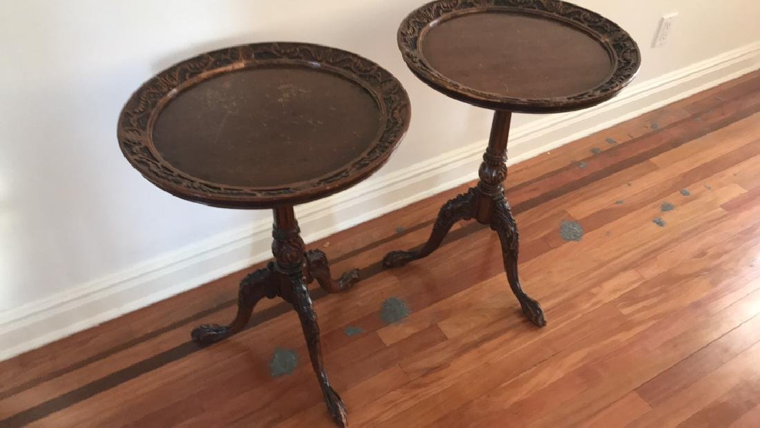 PAIR OF MAHOGANY CLAW FOOT SIDE TABLES - 2