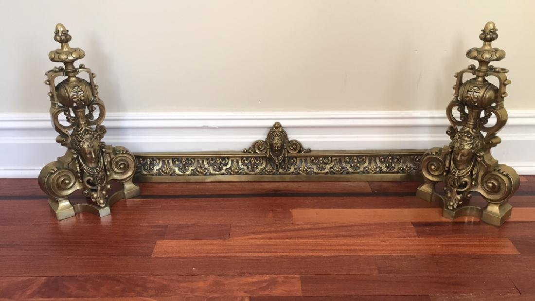 BRASS FIREPLACE ANDIRONS AND FENDER