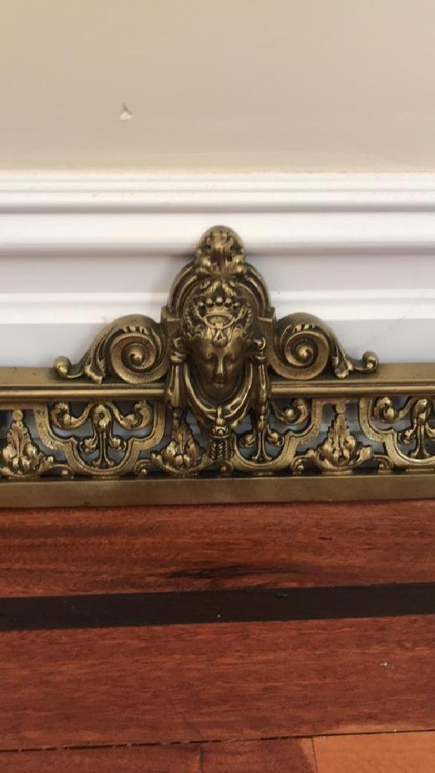 BRASS FIREPLACE ANDIRONS AND FENDER - 3