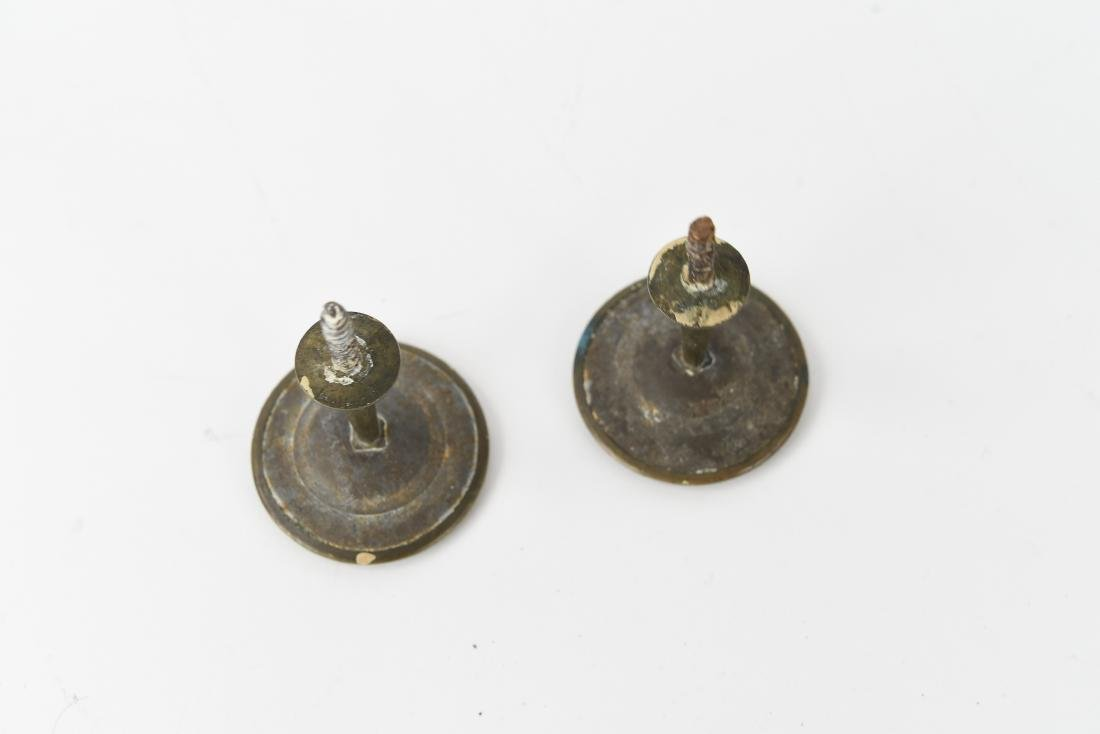 (2) PAINTED PORCELAIN AND BRASS TIE BACK KNOBS - 3