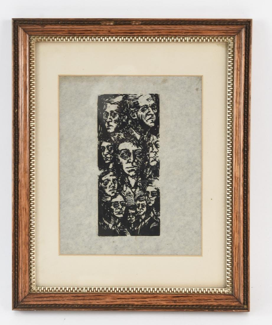 MODERNIST WOODBLOCK PRINT OF FACES