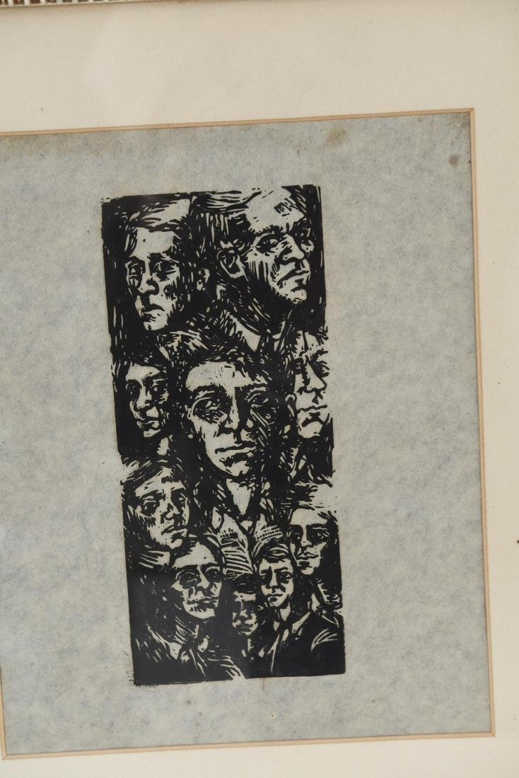 MODERNIST WOODBLOCK PRINT OF FACES - 2