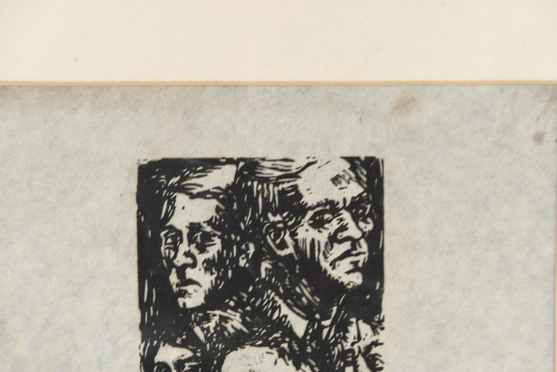 MODERNIST WOODBLOCK PRINT OF FACES - 3