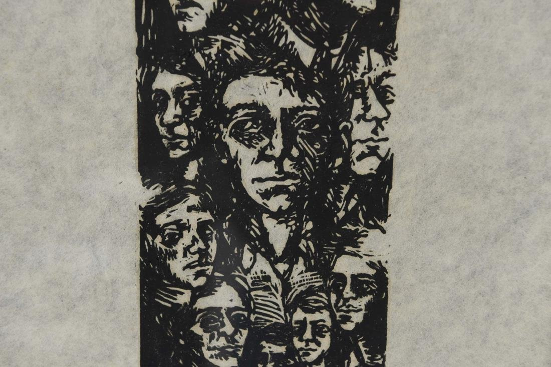 MODERNIST WOODBLOCK PRINT OF FACES - 4