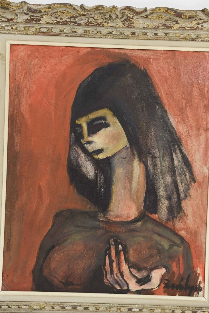 OIL ON BOARD OF ABSTRACT FEMALE FIGURE - 2