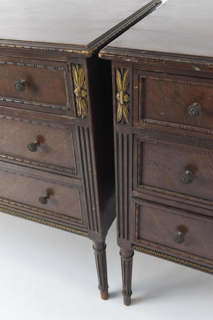 PAIR OF ANTIQUE THREE DRAWER CHESTS - 9