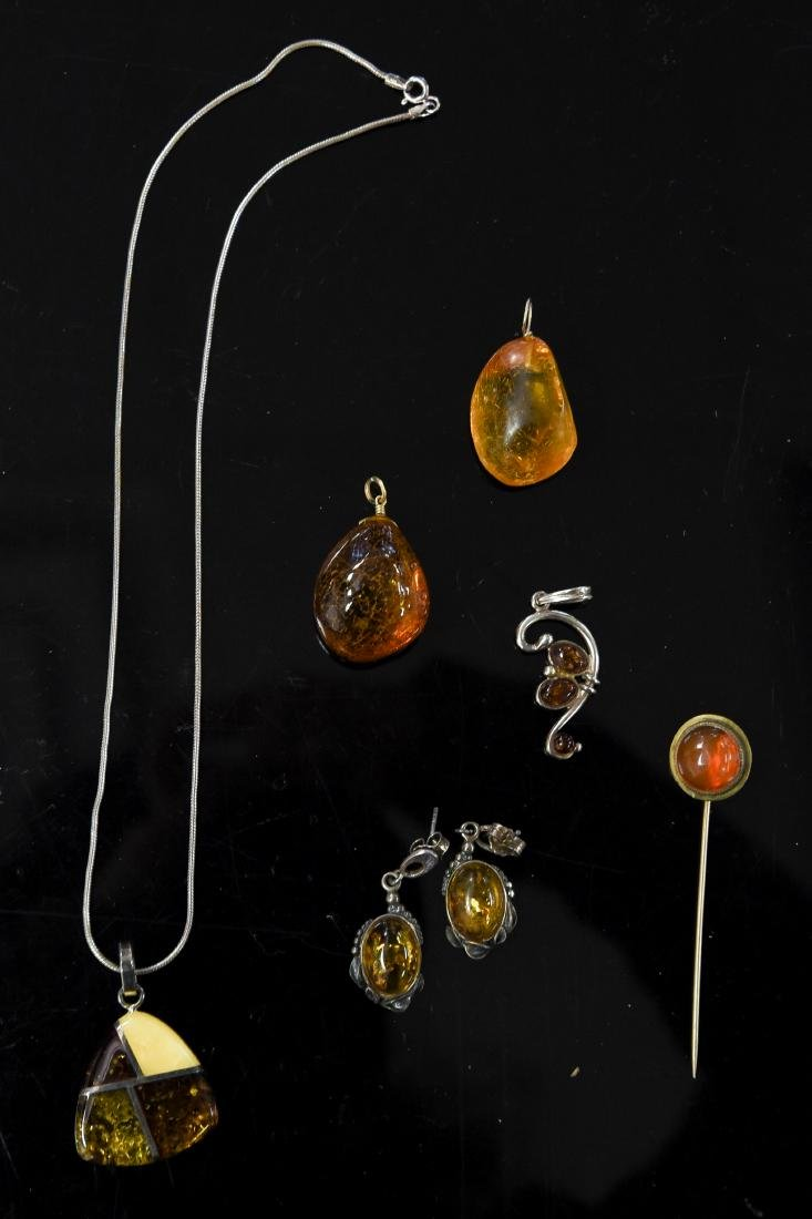 AMBER AND STERLING JEWELRY