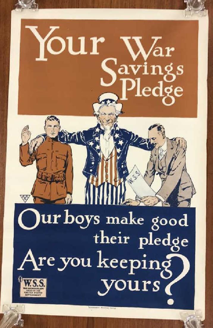 WAR SAVINGS STAMPS WORLD WAR I POSTER