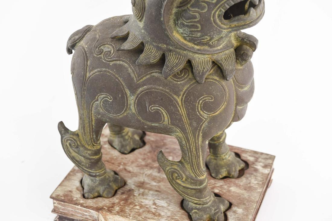 CHINESE BRONZE FOO DOG CENSER - 3