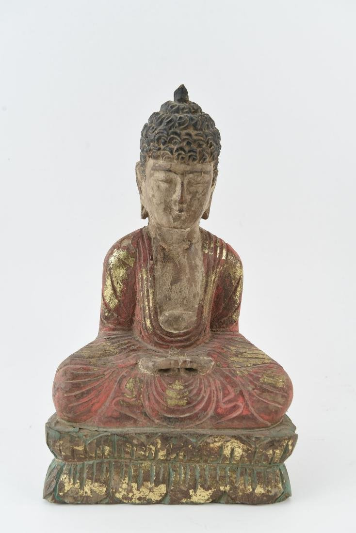 CARVED ASIAN WOODEN BUDDHA SCULPTURE