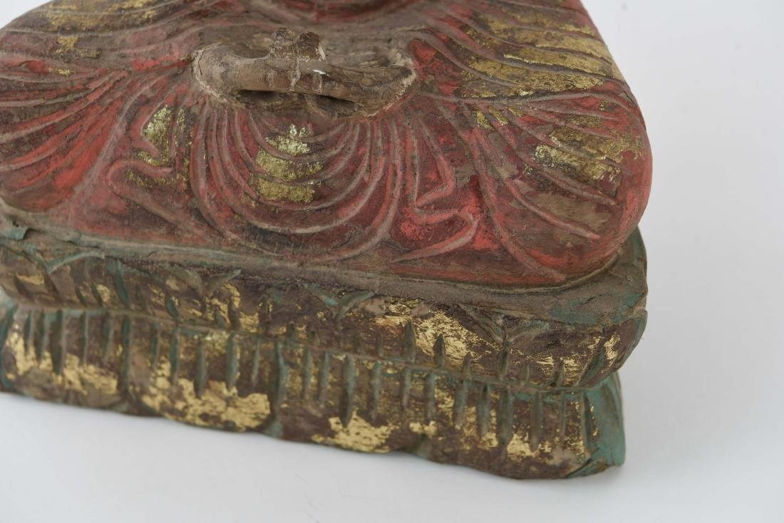 CARVED ASIAN WOODEN BUDDHA SCULPTURE - 2