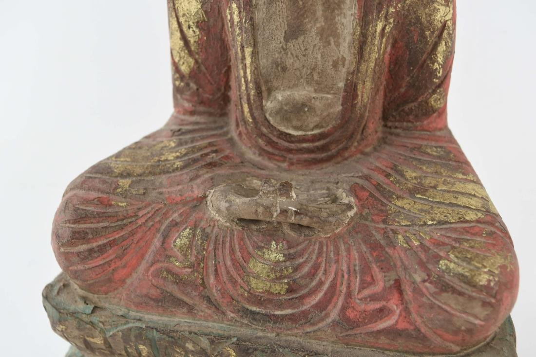 CARVED ASIAN WOODEN BUDDHA SCULPTURE - 3
