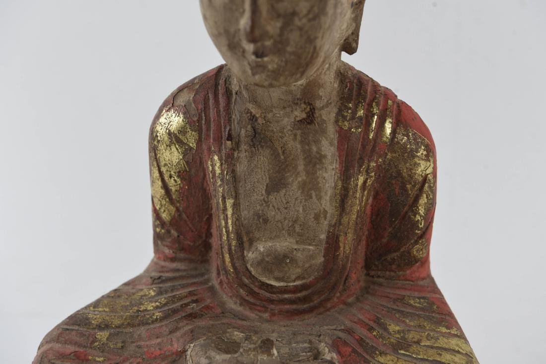 CARVED ASIAN WOODEN BUDDHA SCULPTURE - 4