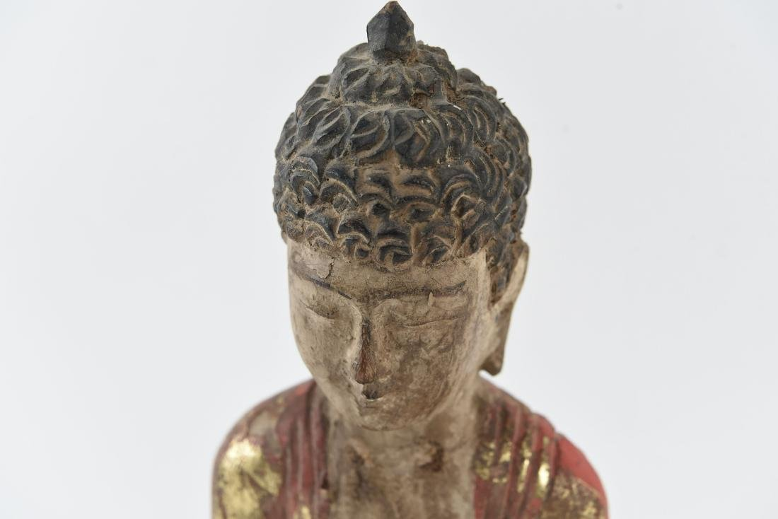 CARVED ASIAN WOODEN BUDDHA SCULPTURE - 5