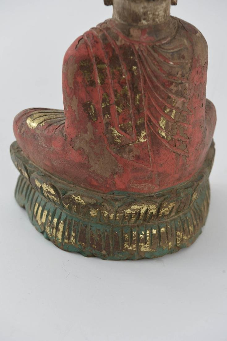 CARVED ASIAN WOODEN BUDDHA SCULPTURE - 8