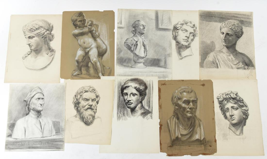 GROUPING OF CHARCOAL PORTRAITS & BUSTS