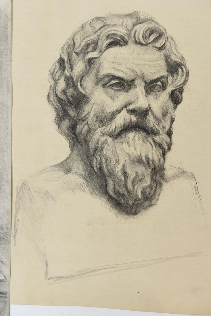 GROUPING OF CHARCOAL PORTRAITS & BUSTS - 3