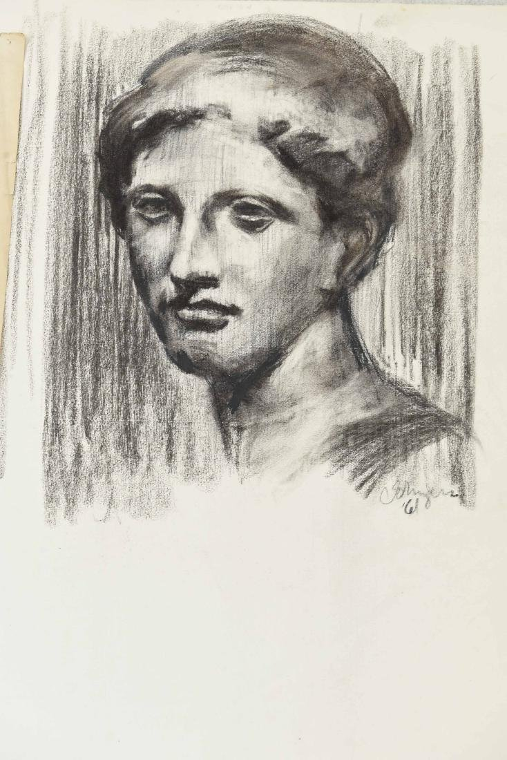 GROUPING OF CHARCOAL PORTRAITS & BUSTS - 4