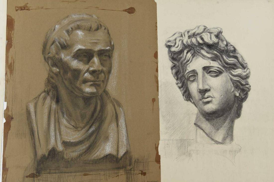 GROUPING OF CHARCOAL PORTRAITS & BUSTS - 5