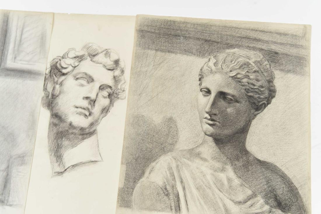 GROUPING OF CHARCOAL PORTRAITS & BUSTS - 6