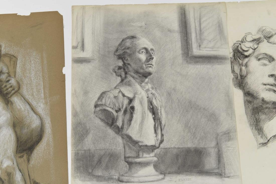 GROUPING OF CHARCOAL PORTRAITS & BUSTS - 7