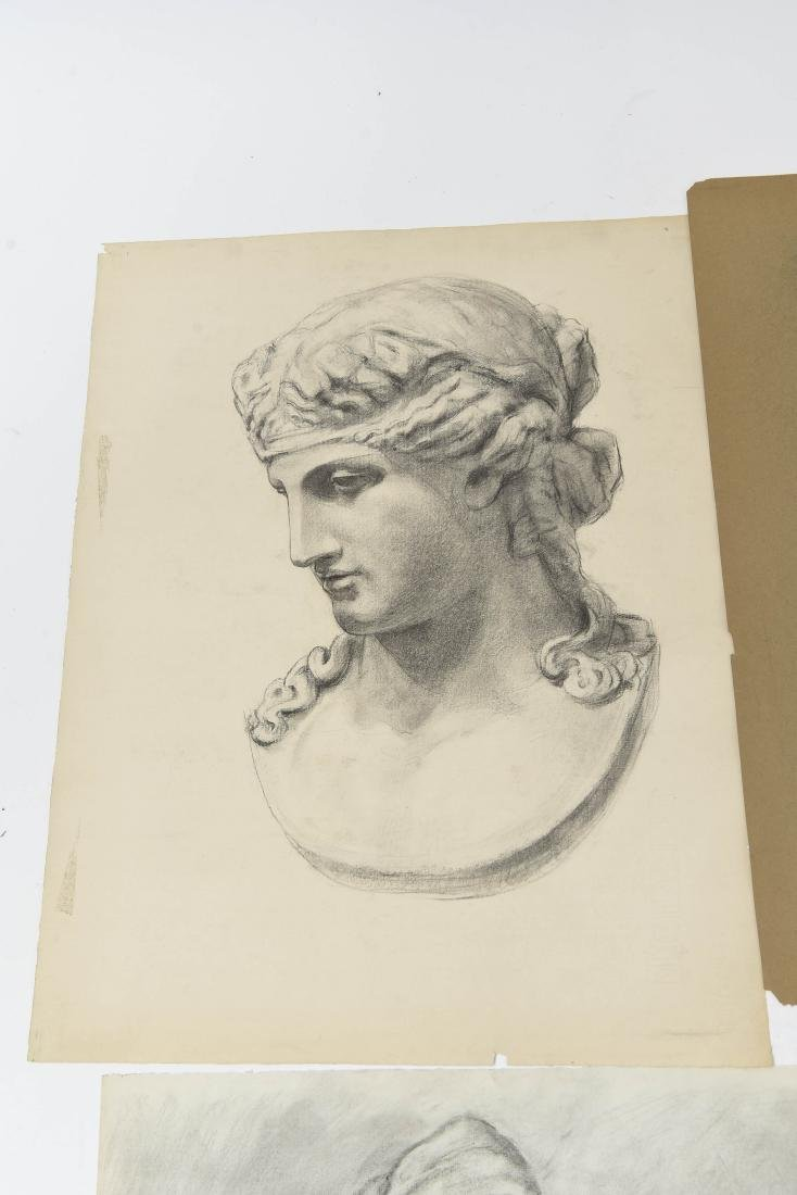 GROUPING OF CHARCOAL PORTRAITS & BUSTS - 9