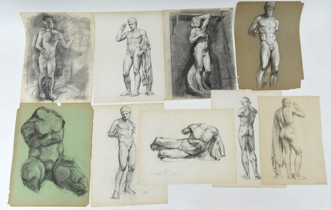 GROUPING OF CHARCOAL MALE NUDES