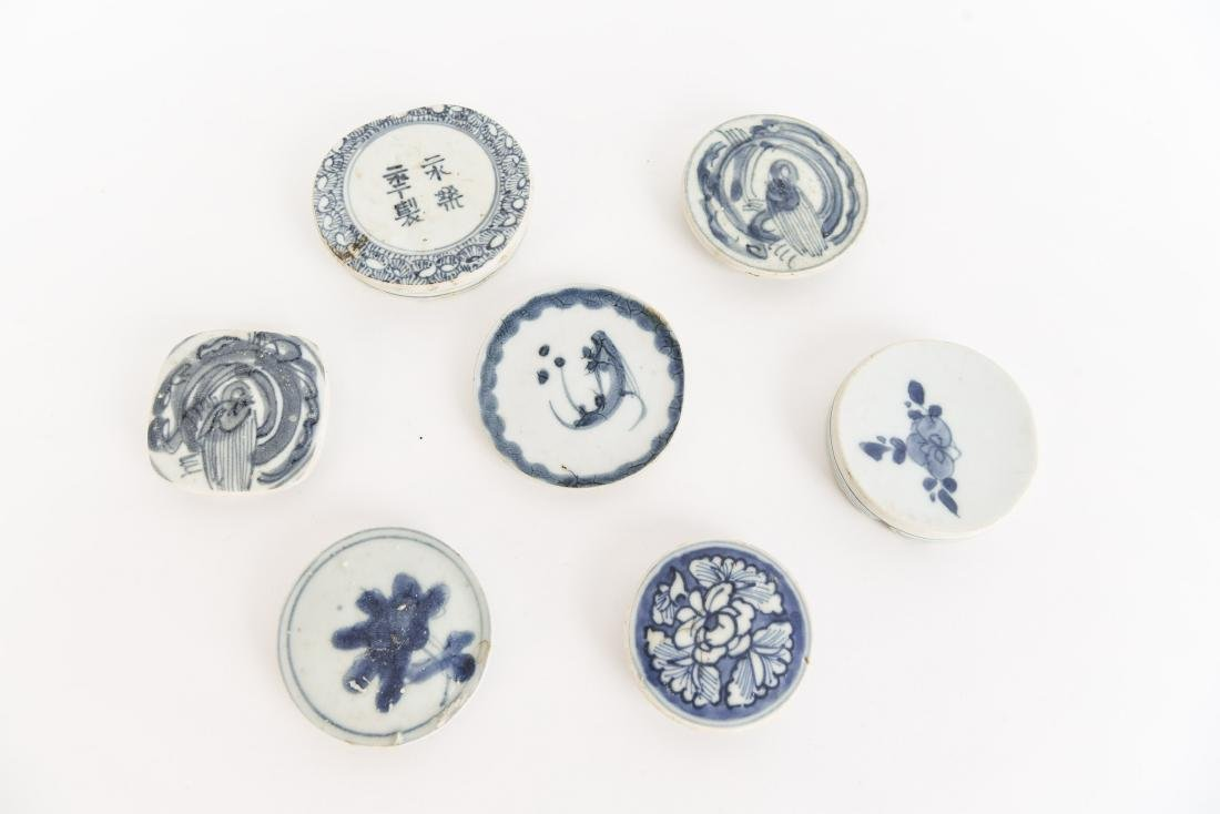 (7) CHINESE BLUE PORCELAIN LIDS