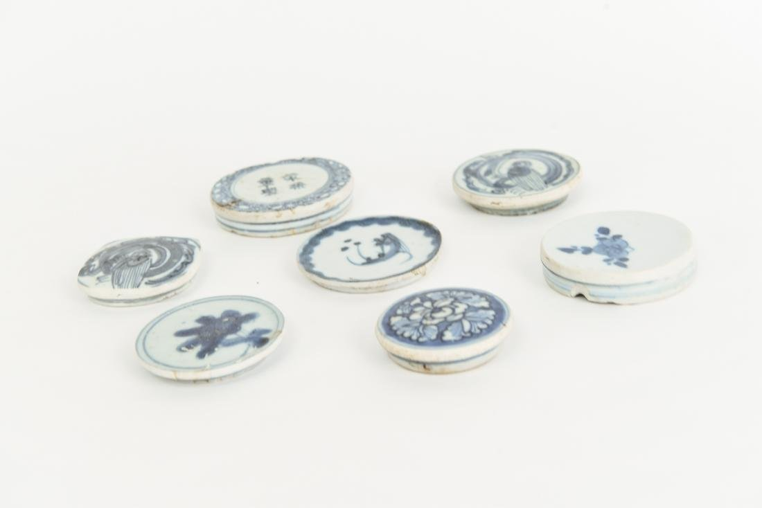 (7) CHINESE BLUE PORCELAIN LIDS - 6