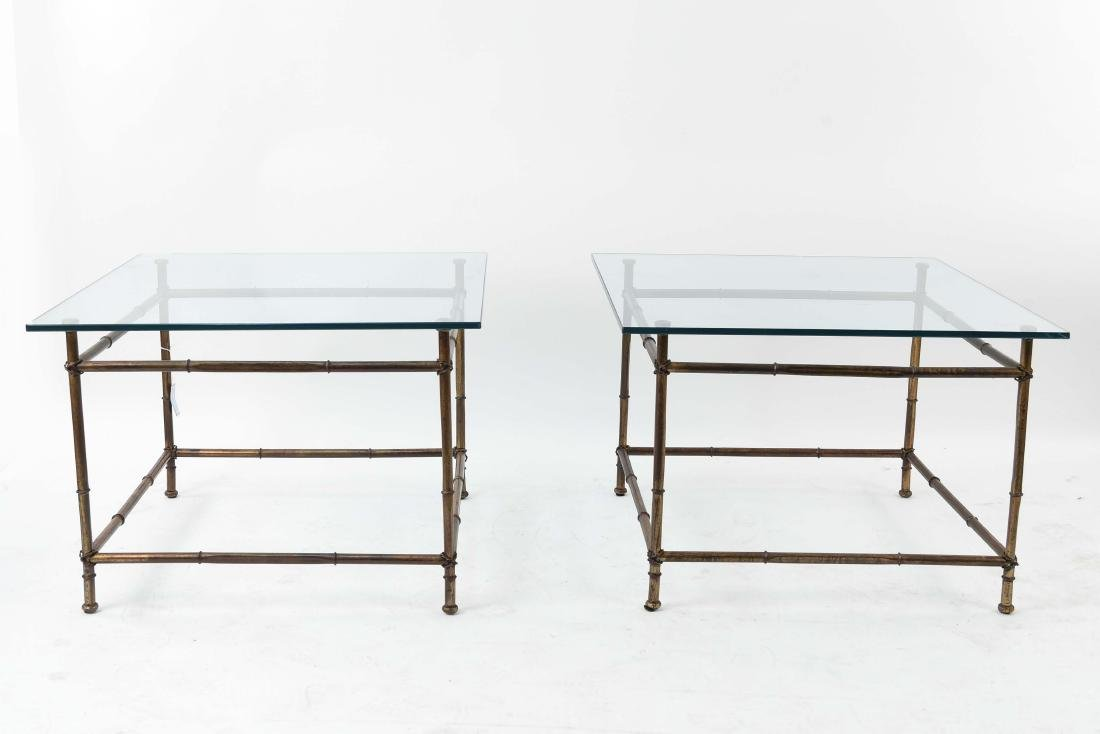 PAIR OF FAUX BAMBOO GLASS TOP TABLES