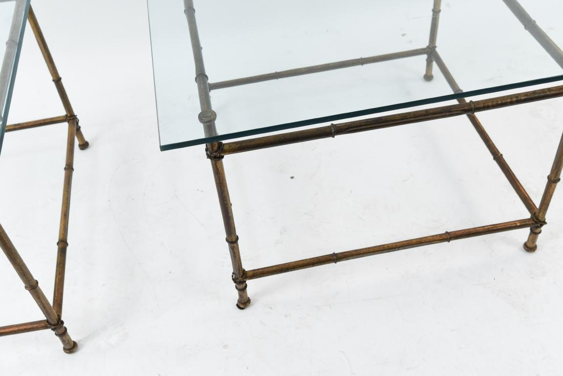 PAIR OF FAUX BAMBOO GLASS TOP TABLES - 3