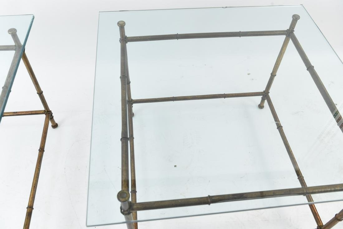 PAIR OF FAUX BAMBOO GLASS TOP TABLES - 4