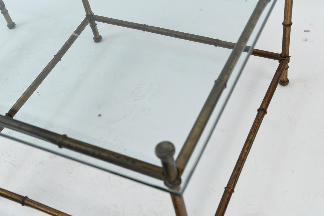 PAIR OF FAUX BAMBOO GLASS TOP TABLES - 5