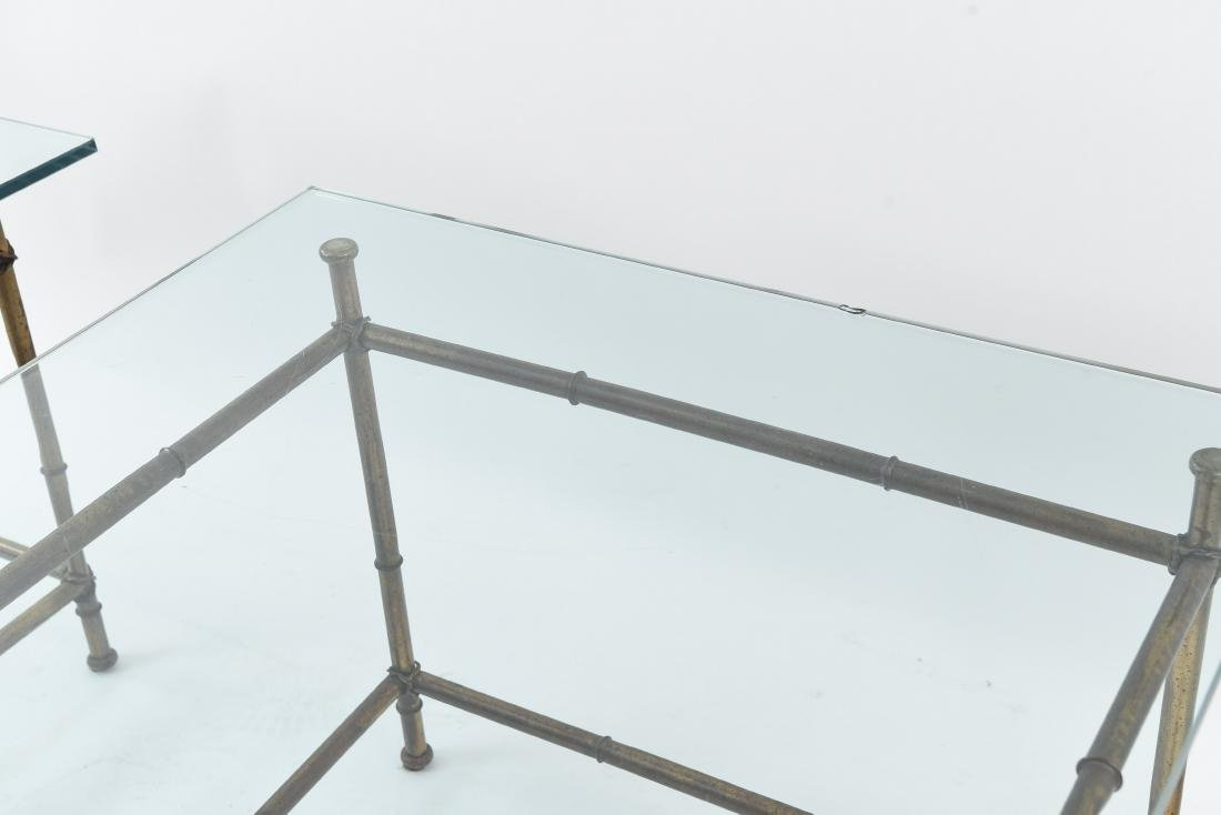 PAIR OF FAUX BAMBOO GLASS TOP TABLES - 6