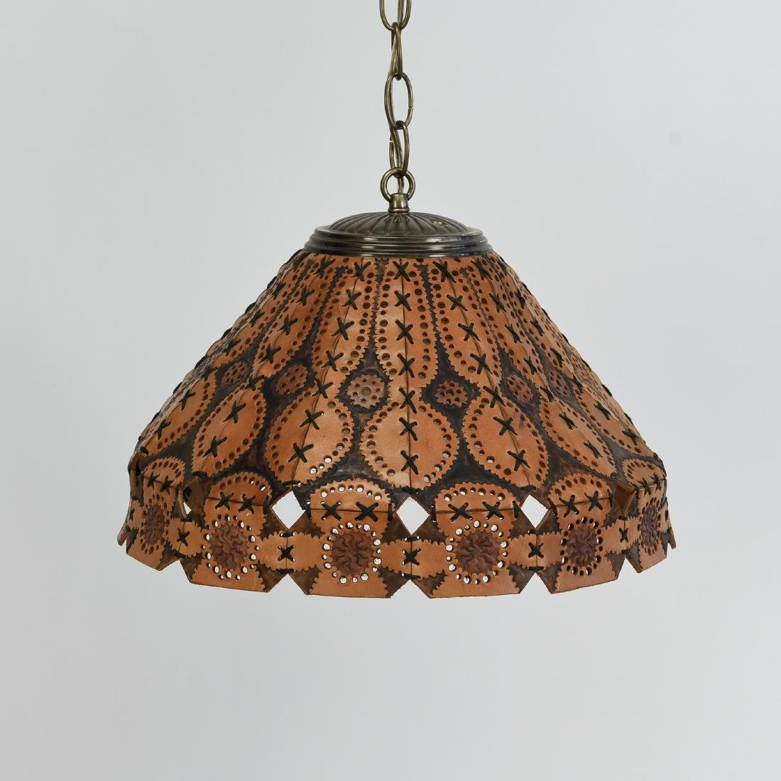 TOOLED LEATHER SHADE HANGING LAMP