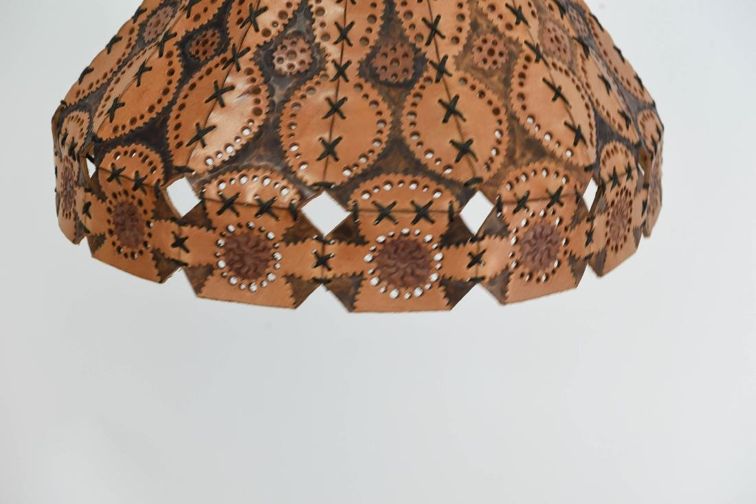 TOOLED LEATHER SHADE HANGING LAMP - 2