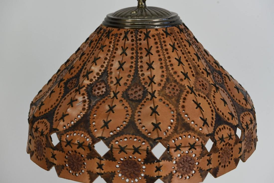 TOOLED LEATHER SHADE HANGING LAMP - 3