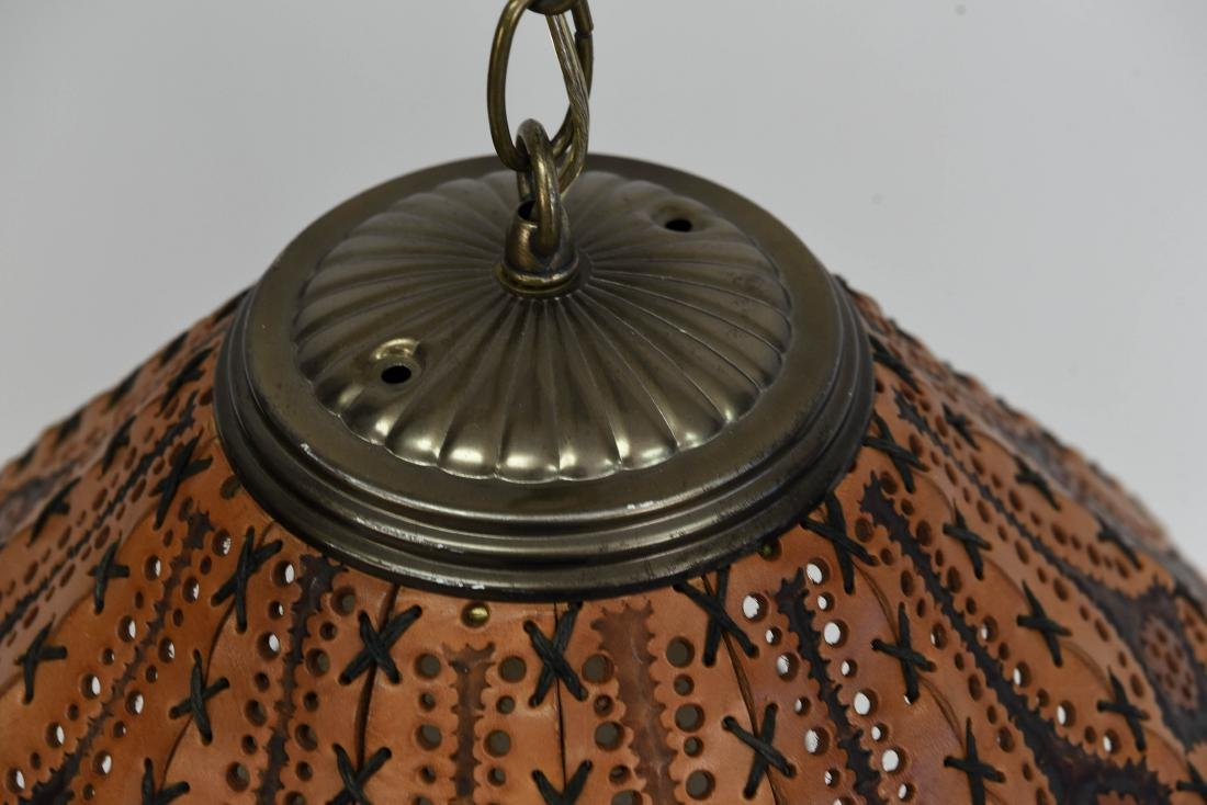 TOOLED LEATHER SHADE HANGING LAMP - 5