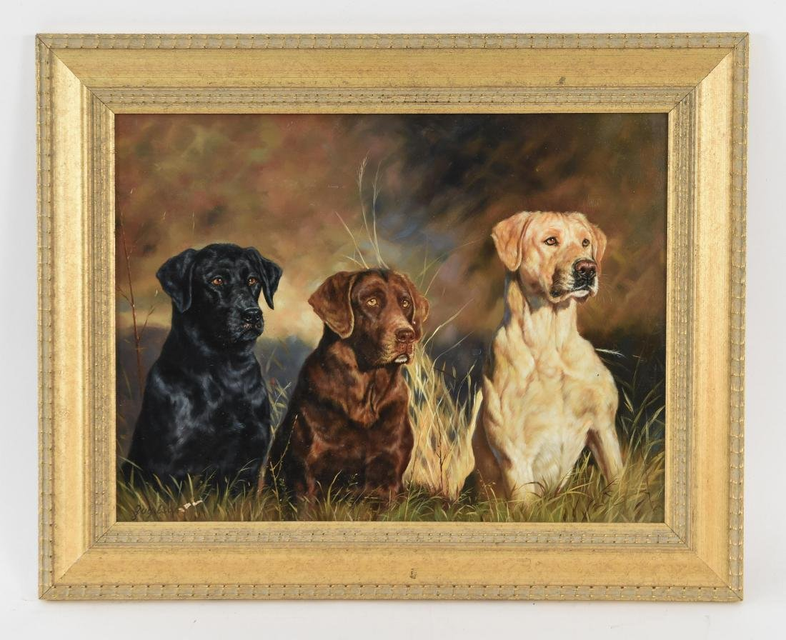 GUY LEON OIL ON BOARD OF DOGS