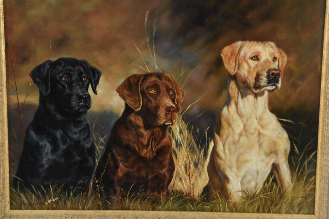 GUY LEON OIL ON BOARD OF DOGS - 2