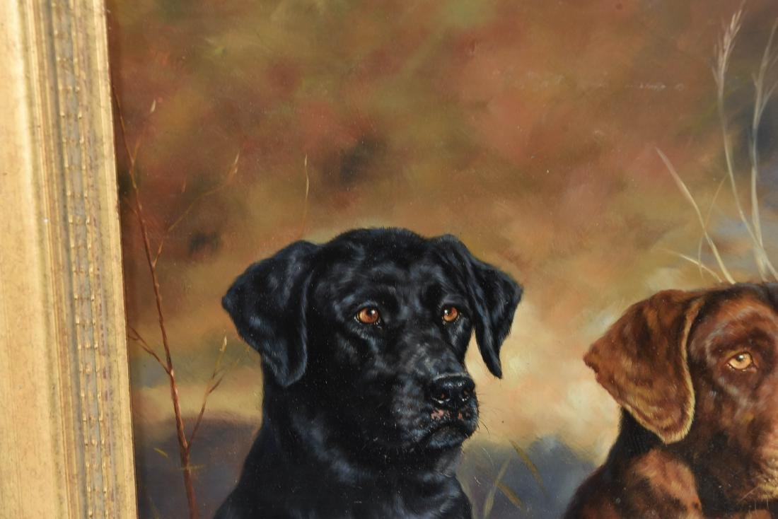 GUY LEON OIL ON BOARD OF DOGS - 3